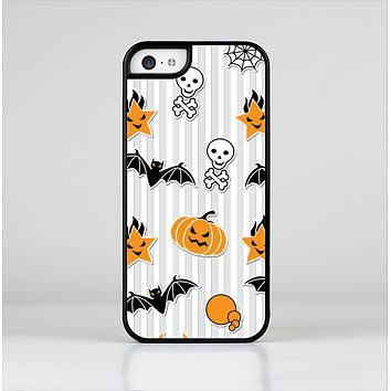 The Halloween Icons Over Gray & White Striped Surface  Skin-Sert Case for the Apple iPhone 5c
