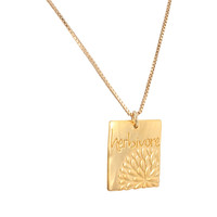"""Herbivore Word Pendant with Flower Design in Gold Plated Sterling Silver By Zoe and Piper on 18"""" Gold Fill Box Chain Necklace, #7382S"""
