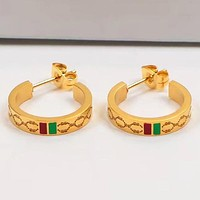 GUCCI Fashion New Personality Circle More Letter Earring Women Golden