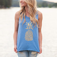 Cuckoo For Pineapples Chiffon Back Tank Top (Blue)