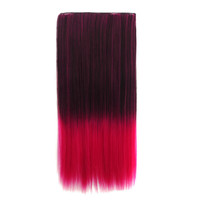 Beauty On Sale Hot Sale Sexy Hot Deal Color Wig Black Gradient Wine Red Double Color Straight Hair Clip Wigs Hair Extensions [4923184260]