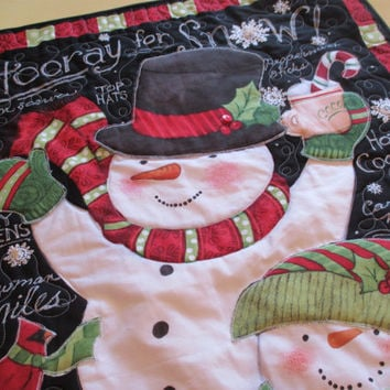 Quilted Snowman Wall Hanging , Christmas Wall Hanging