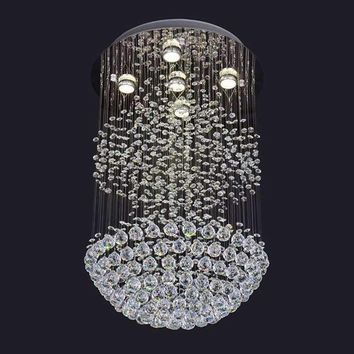 Modern Large Crystal Chandelier Light Fixture for Lobby,Crystal Light lustre ceiling lamp for voltage 90-260V