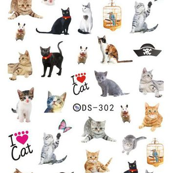 Rocooart DS302 Nail Water Transfer Nails Art Sticker Harajuku Elements Cute Cats Nail Wraps Sticker Tips Manicura nail Decal
