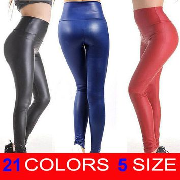 New Fashion Women's Sexy Skinny Faux Leather High Waist Leggings