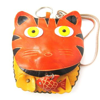 Tiger Animal Shaped Handmade Coin Purse with Wrist Strap and Key Split Ring