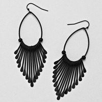 Black Loop Chevron Earrings