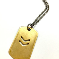 Cool Mens Necklace. Military Dog Tag Chevron Pendant. Stainless Steel Chain Necklace f/ Guys. Mixed Metal Jewelry. Boyfriend Gift