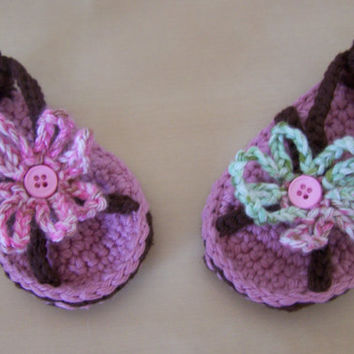 baby crochet sandals, baby clothing, infant summer sandals, pink and brown, 3 to 6 months