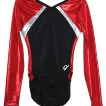 GK Elite Red Mystique/Black Gymnastics Leotard - AS Adult Small NEW