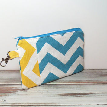 Phone Wallet Clutch - Turquoise and Yellow - Bag Accessory - Girls Party Favor - Cell Phone Wallet - Handbag Clutch - Chevron
