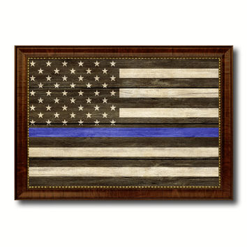 Thin Blue Line Honoring our Men and Women of Law Enforcement American Police USA Flag Texture Canvas Print with Brown Picture Frame Home Decor Wall Art Gifts