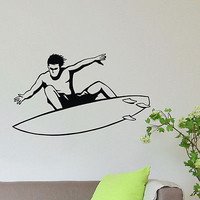 WALL DECAL VINYL STICKER SPORT SURFING SURFER SURFBOARDING DECOR SB503