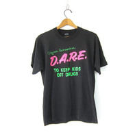 Vintage Dare TShirt Grunge Black Old School Tee shirt COED Unisex Dare to Keep Kids Off Drugs Size Large