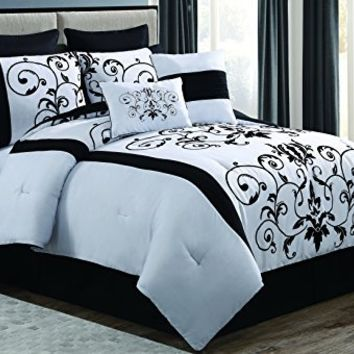 Geneva Home Fashion 8-Piece Cassandra Flocked Comforter Set, King, Black/White