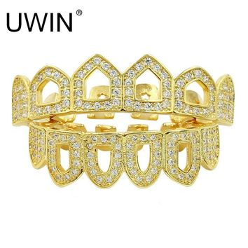 UWIN High Quality Hip-Hop Grills Caps Shaped Iced out CZ 4 Open Hollow Grillz Top & Bottom Grillz Set Men Women Mouth Teeth