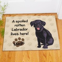 Personalized Black Lab Doormat