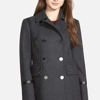 Women's MICHAEL Michael Kors Faux Leather Trim Wool Blend Peacoat,