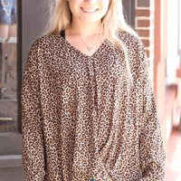 Brown Leopard Gathered Front Knit L/S