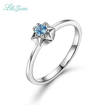 I&zuan 925 Silver Jewelry Natural 0.145ct Topaz Star Prong Setting Blue Stone Ring Wedding Band for Women Love Gift with Box