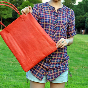 Leather Tote Bag Shoulder Bag-Color Red