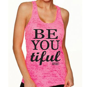 Be-You-Tiful Tank Top. Workout Tank. Beautiful Shirt. Yoga Tank. Motivational Workout. Beast Mode. Running Tank Top. Inspirational.