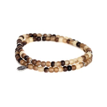 2 Layer Natural Horn and Silver Bead Bracelet - M. Cohen