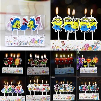 Birthday Cake Toppers birthday candles Spiderman Train Mickey/Minnie Mouse Minions Avengers kids Candles Party Supplies