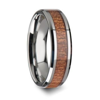Genuine African Sapele Wood Inlaid Tungsten Wedding Polished Bevels 6mm - 10mm