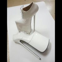 New Design White Patent Leather Pump Lace up 30CM Extreme High heel 15cm Platform Women Shoes Sexy Fetish High Heels Sexy Pump