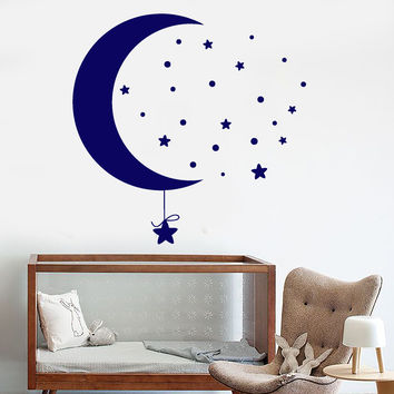 Vinyl Wall Decal Moon Stars Art Children's Room Decor Stickers Unique Gift (1229ig)