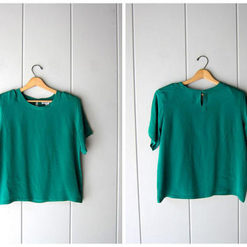 90s Silk Top Emerald Green Modern Vintage Boxy Silk Top Short Sleeve Casual Silk Blouse Boxy Crop Top Minimal Silk Tee Womens Medium Large