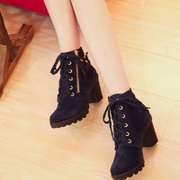 Retro Buckle High Heel Lace Up Platform Martin Black Blue Pumps Boots