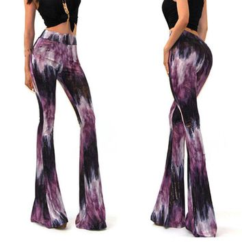 Fashion Women Sexy Bell Bottom Long Tie Dye Flare Stretch Boho Hippie Pants Women Summer Trousers
