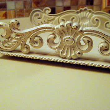 Tissue Box Holder, Vintage Brass painted, Antique white, distressed, bathroom vanity display