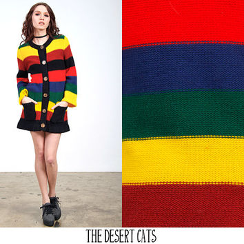 vintage 60s 70s sweater vintage rainbow knit striped sweater vintage hipster hippie button down cardigan sweater
