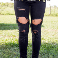 Rebel Ripped Jeans ~ Black