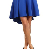 Casual Solid Asymmetrical Hi-Low Hem High Waist A-line Flared Pleated Mini Skirt