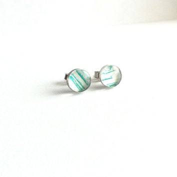 Turquoise and White Earrings, Turquoise Stud Earrings, Small Earring Studs, Dainty Earrings, Sensitive Ears, Simple Cute Everyday Jewelry