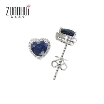14KT White Gold Blue Heart Natural Sapphire Diamond Earrings
