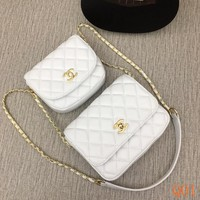 HCXX 19Aug 090 25869 Fashion Twin Bag Embossing Chain Flap Bag Chain Hard-shell Clutch Bag White
