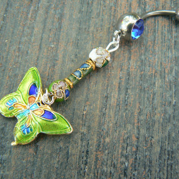 cloisonne butterfly belly ring LIME GREEN cloisonne beads