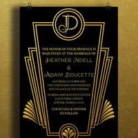 Instant Download-Black Gold Art Deco Great Gatsby Vintage DIY Printable Birthday Party Baby Girl Shower Bridal Wedding Invitation Template