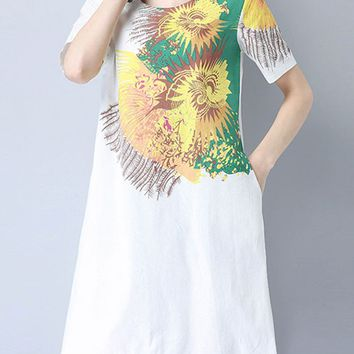Casual Round Neck Pocket Attractive Printed Shift Dress