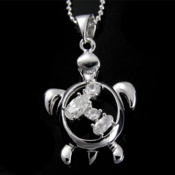 STERLING SILVER 925 SHINY HAWAIIAN HONU TURTLE PENDANT CZ 16MM