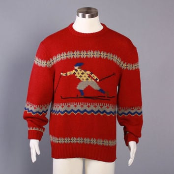 80s NORDIC SKI SWEATER / 1980s Novelty Skiing Man Wool Pullover L
