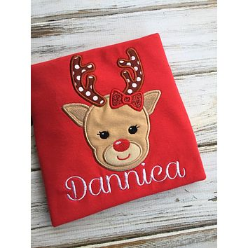 Christmas Girl Reindeer Shirt or Onesuit
