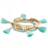 Tahiti Tassel Bracelet Set In Mint | Monday Dress Boutique