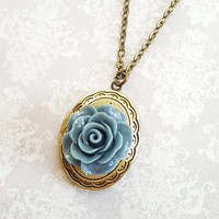 Oval Locket Necklace Antique Gold Brass Blue Rose Vintage Style Photo Locket Pendant Womens Gift for Mother, Sister, Girlfriend Long Chain