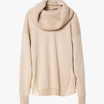 Oversized Wool Sweater with Neck Wrap